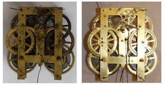 Before & After clock movement overhaul caseyclockrestoration