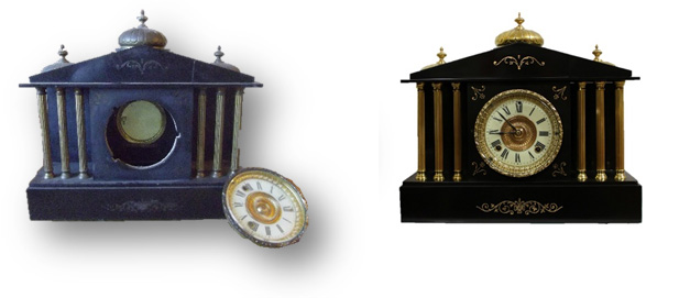 Before & After Ansonia Mantle Clock caseyclockrestoration