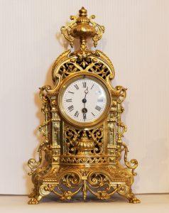 French Brass Mantel Timepiece Circa 1870 - 1900. Casey Clock Restoration