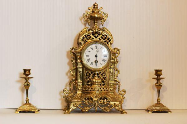 French Brass Mantel Timepiece Circa 1870 - 1900