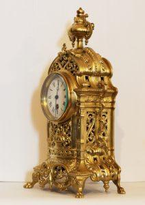 French Brass Mantel Timepiece Circa 1870 - 1900. Casey Clock Restoration.