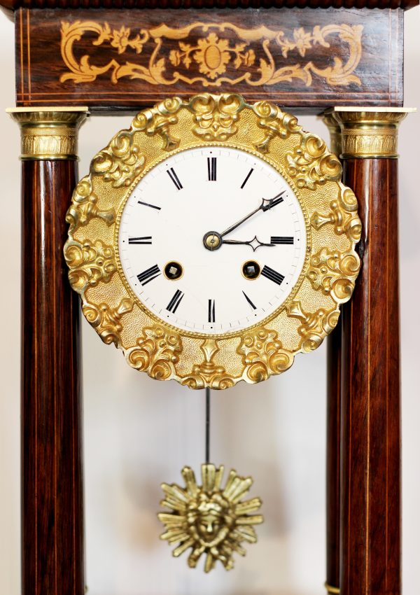 Japy Freres Portico Clock circa 1850 - 1858. Inlaid case with sunburst pendulum bob. Casey Clock Restoration