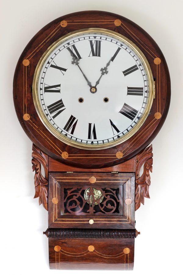 Anglo American Rosewood Drop Dial Clock circa 1880 - 1900 Casey Clock Restoration