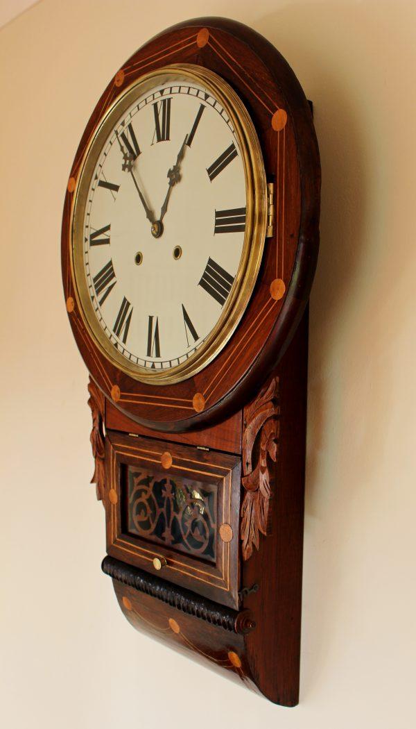 Anglo American Rosewood Drop Dial Clock circa 1880 - 1900. Casey Clock Restoration